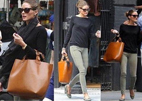 Maison De Decoration©Sac en cuir d'épaule de sac à main de poignée de dessus de double de sac de client de Cowskin de sac à main de femmes (brun)