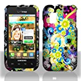 Black with Green Pink Blue Colorful Flower Design Rubberized Snap on Hard Skin Shell Protector Faceplate Cover Case for Samsung Fascinate I500 ~ Powertag