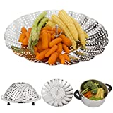 "Vegetable Steamer Basket with Silicone Feet - Stainless Steel Steamer with Diameter 5,3"" to 9,3"" Fits Most Pots - Steams Vegetables, Fish, Rice & More - Inspires Healthy Eating - Dishwasher Safe"