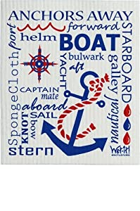 Swedish Treasures Wet-it! Cleaning Cloth, Works Great in Kitchen, Bathroom or Any Room, Reusable & Biodegradable, Navy & Red Nautical