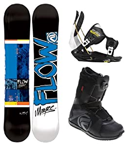 Flow Merc Black Complete Snowboard Package with Flite 2 Bindings and Vega BOA Boots - Board Size 150 - Boot Size 11 - 2013