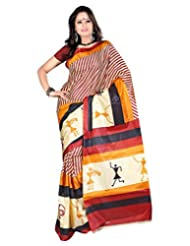 Surat Tex Black & Yellow Art Silk Casual Wear Printed Sarees Without Blouse Piece-D115SE1005CSU