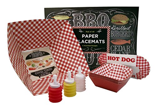 Ultimate Barbeque Bundle: Placemats, Miniature Condiment Containers, Hamburger & Hot Dog Plates , Gingham Bucket