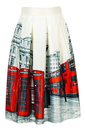 Women London Street Skater Skirt Telephone Boxes and Bus Printed A-Line Skirt (Full Skater Skirt compare prices)