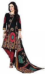 Fashionx Black cotton printed unstitched dress material