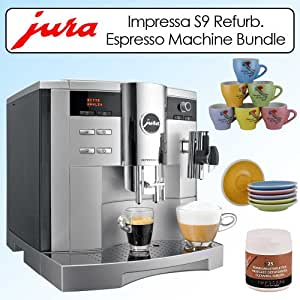 Jura Impressa S9 One Touch 96oz Espresso Machine Platinum Metallic Refurbished 1342399 Bundle With Espresso Cups-Saucers Set & Cleaning Tablets