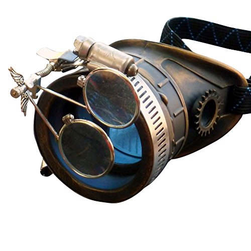 Steampunk Victorian Goggles welding Glasses monocle blue lens left eye
