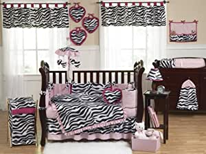 Pink, Black and White Funky Zebra Animal Print Baby Girl Bedding 9pc Crib Set