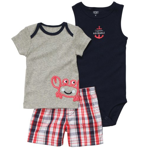 Carter's Boys Crab Bodysuit Shirt 3 Piece Shorts Set (18 months)
