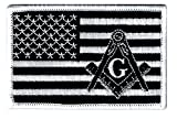 Masonic Black American Flag Patch Embroidered Iron-On Freemason Square Compass