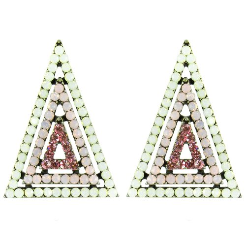 Pink And White On Antique Gold 3D Sparkly Geometric Triangle Earrings front-877909