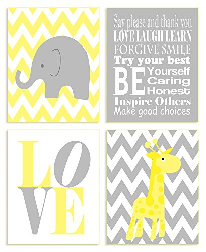 The Kids Room By Stupell Wall Art Set, Yellow Zig-Zag Elephant