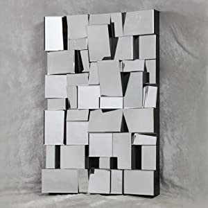 large artistic angled glass block multi facet wall mirror