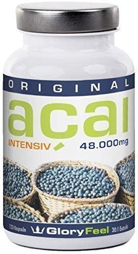 Acai Beere 48000 - höchstdosiertes Acai Extrakt - 120 Acai Beeren Kapseln plus Vitamin C, reines Acai Berry Pulver
