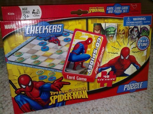 Marvel Spider-Man 3 in 1 Checkers, Card Game & Puzzle Set