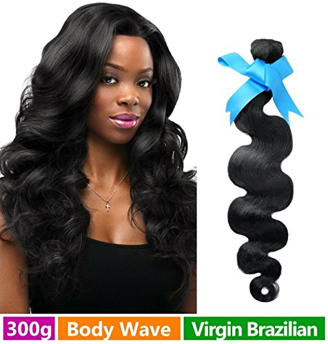 Rechoo Mixed Length Brazilian Virgin Remy Human Hair Extension Weave 3 Bundles 300g - Natural Black,14