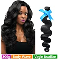 Rechoo Mixed Length Brazilian Virgin Remy Human Hair Extension Weave 3 Bundles 300g - Natural Black,10