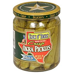 Talk O Texas, Okra Pickled Mild, 16-Ounce (6 Pack)