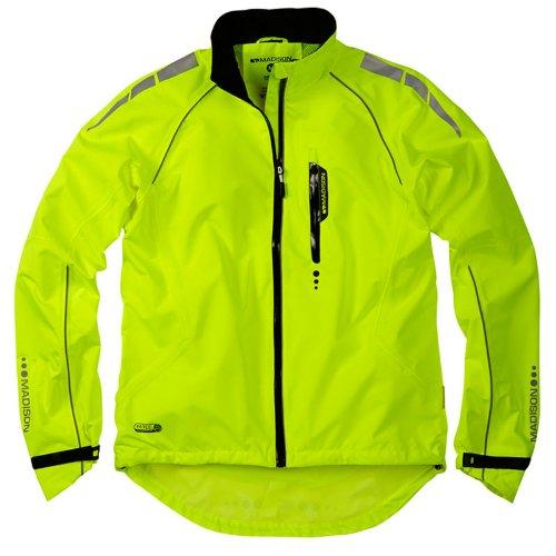 Madison mens Prime Long Sleeve Waterproof Jacket Hi Viz Yellow XX-large