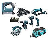 Makita 18V LXT Li Ion LXT600 6 Piece Kit And BST221 BST221Z BST221Rfe Stapler