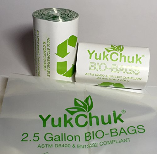 Premium Kitchen Compost BIO-BAGS by YukChuk. 2 x 25/roll, 17.5 x 14 x 0.9 mil, 2.5 gallon. ASTM D6400 & EN13432 Compliant. (Corn Starch Container compare prices)
