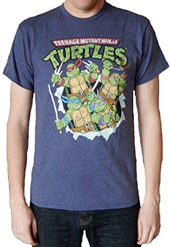 TMNT Teenage Mutant Ninja Turtles Break Through Mens Navy Heather T-shirt M