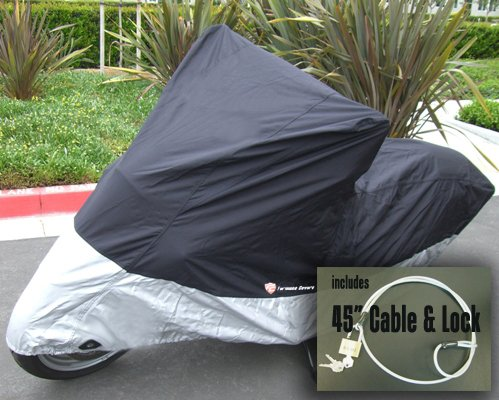 "Heavy Duty Motorcycle cover (XL). Fits up to 94"" length Medium cruiser, Large sport bike. Includes cable and lock."