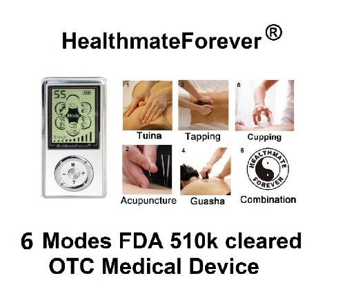 Fda Cleared Healthmateforever Digital Electronic Pulse Massager 6 Modes 8 Pcs Pads Pain Relief Product. Lifetime Warranty Sj6M White