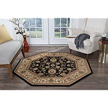 Universal Rugs Gabrielle Traditional Oriental Black Octagon Area Rug, 8 Octagon