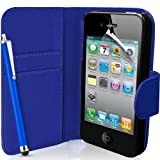 Supergets® Apple iPhone 4 / 4S Dark Blue Wallet Case, Screen Protector, Touch Screen Stylus And Polishing Cloth