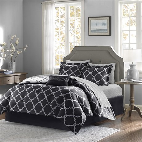 Madison Park Essentials Merritt Complete Bed And Sheet Set Navy Twin