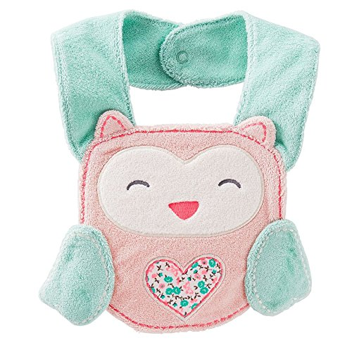 Carters Pink Owl Terry Teething Baby Bib - 1