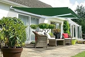 store banne demi coffre manuel vert 3m x 4m jardin. Black Bedroom Furniture Sets. Home Design Ideas