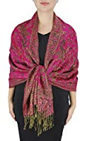 Peach Couture Hues of Red Double Layer Reversible Paisley Pashmina Shawl Wrap Scarf