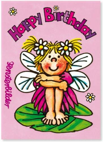 Fensterbild * Happy Birthday Elfe * als Einladungskarte von LUTZ MAUDER // Fensterbilder Aufkleber Sticker Geschenk Bild Karte Mädchen Pferd Kindergeburtstag Geburtstag Postkarte Einladungskarten Einladung Pink Rosa Herzlichen Glückwunsch Prinzessin Fee