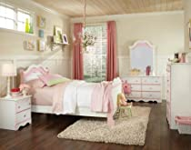 Hot Sale Standard Furniture Bubblegum 5 Piece Sleigh Bedroom Set In White & Pink