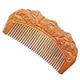 FINGER LOVE Handmade Carved Ebony (Black Sandalwood) Hair Comb Plum Blossom Carving S003