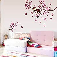Qianxing removable cycle-usable flower and tree theme wallpaper wall sticker leisure style beautiful scenery Wall Decal for house home living room mural Decoration(monkey and flower)(120*85) by Qianxing