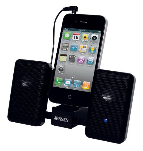 Jensen Smps-225 Portable Stereo Speaker System With Carry Pouch For Ipod, Iphone And Mp3 Players (Black)