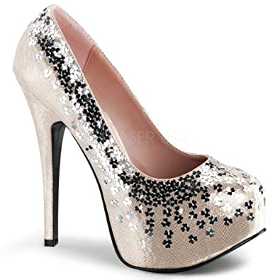 "FABULICIOUS TEEZE-06SQ Women's 5 3/4"" Heel, 1 3/4"" Hidden Platform Pump, Color:BLUSH SEQUINED METALLIC FABRIC, Size:6"