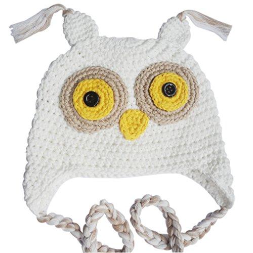 Baby Girl Boy Crochet Winter Hat Kids Handmade Owl Cap (White)