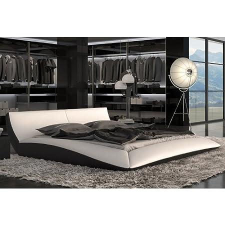 Cama doble de madera RIGETTA/de colour blanco de piel sintética para cama/Colour Negro, blanco/negro, 180 x 200 cm