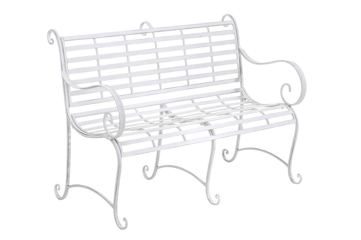 CLP Gartenbank ROY im Landhausstil, aus lackiertem Eisen, 129 x 69 cm – aus bis zu 6 Farben wählen antik-weiß günstig online kaufen