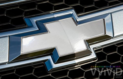 VVIVID White Gloss Auto Emblem Vinyl Wrap Overlay Cut-Your-Own Decal for Chevy Bowtie Grill, Rear Logo DIY Easy to Install 11.80