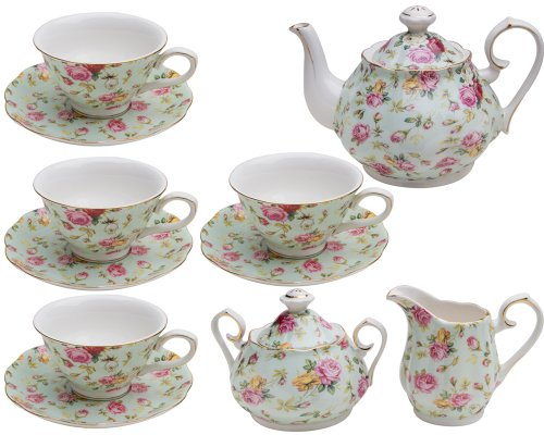 Gracie China By Coastline Imports Blue Cottage Rose Chintz 11-Piece Tea Set
