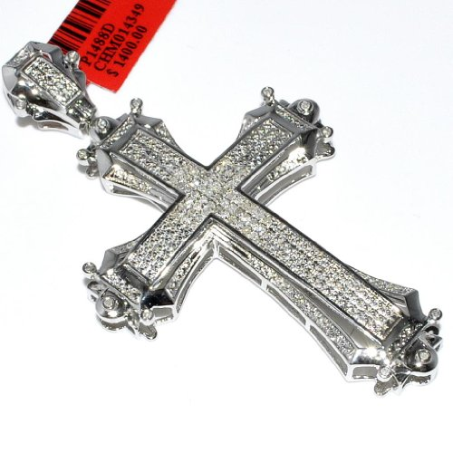 Cross With Diamonds For Men Sterling Silver 70Mm Tall Measures 70Mm Tall front-509215