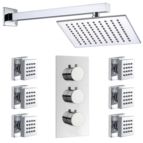 Thermostatic Bathroom Shower Set with 3 Dial Mixer Valve and Body Jets