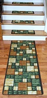Washable Carpet Stair Treads - Hop Scotch Terra Cotta PLUS a Matching 5' Runner