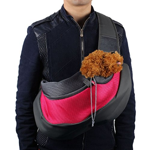 Mokingtop Pet Dog Cat Puppy Carrier Mesh Travel Tote Shoulder Bag Sling Backpack (L, Hot Pink)