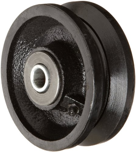 """RWM Casters VIR-0415-08 4"""" Diameter X 1-1/2"""" Width Cast Iron V-Groove Wheel with Straight Roller Bearing, 700 lbs Capacity"""